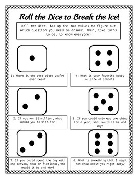 Roll the Dice to Break the Ice : First Day Ice Breaker