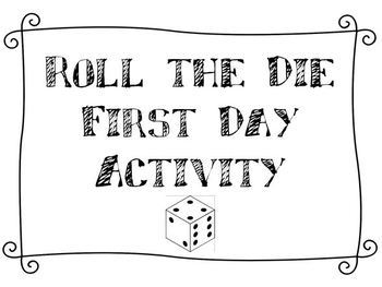 Roll the Die Activity for Back to School!