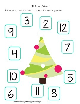 Roll the Die and Colour with Santa and a Christmas Tree (American Spelling)