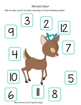 Roll the Die and Colour with Santa and a Reindeer (British Spelling)