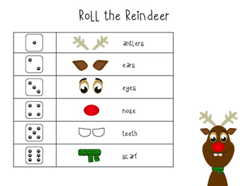 Roll the Reindeer Printable Game
