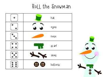Roll the Snowman Printable Game