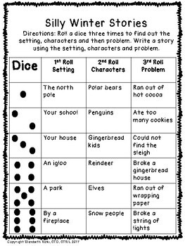Roll the dice: Silly winter sentences & story ideas! Handwriting fun! k12345
