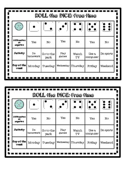 Roll the dice: free time activities