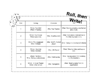 Roll, then Write Journal Prompts