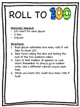 Roll to 100 Game - 100th Day of School