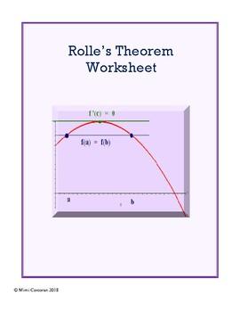Rolle's Theorem Worksheet