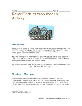 Roller Coaster Activity (Potential & Kinetic Energy)