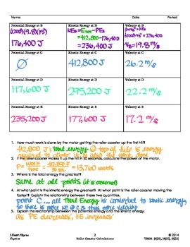 Roller Coaster Conservation of Energy Calculations