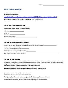 Roller Coaster Creator webquest worksheet