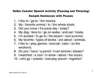 Roller Coaster Speech Fluency (Stuttering) Lesson