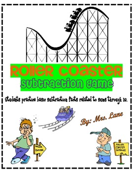 Roller Coaster Subtraction Game! (Great Center or Workstation!)