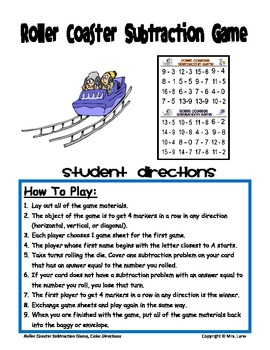 Roller Coaster Subtraction Game! (Great Center or Workstation!)