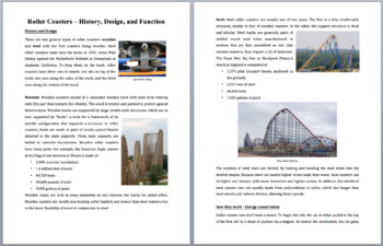 Roller Coasters - History, Design, and Function - Science Reading Article