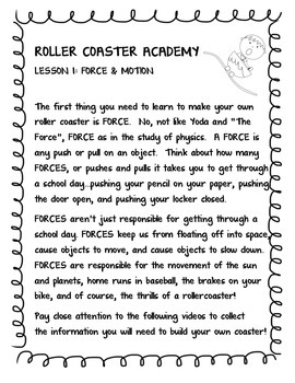 Roller coaster Academy - Physics Unit on Motion, Forces, and Energy