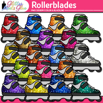 Rainbow Rollerblades Clip Art {Sports Equipment for Physical Education Teachers}