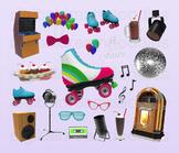 Rollerskate Clipart - Roller Rink Party Digital PNG Graphics