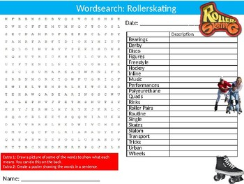 Rollerskating Wordsearch Puzzle Sheet Keywords Physical Education Sports