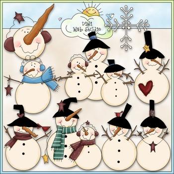 Rolley Polley Snowmen Clip Art - Snowman Clip Art - Winter