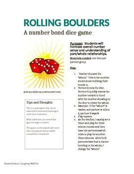 Rolling Boulders: A Dice Number Bond Game