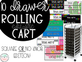Rolling Cart 10 Drawer Labels *EDITABLE* {Square or NO Kno