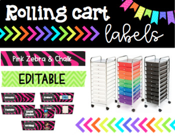 Rolling Cart Drawer Labels * EDITABLE * Pink Zebra and Chalk
