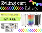 Rolling Cart Drawer Labels * EDITABLE * Whitewood 2 and Chalk
