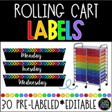 Rolling Cart Labels | Rolling Cart Drawer Labels | Editabl
