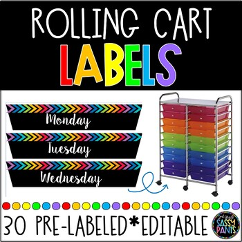 Rainbow Rolling Cart Drawer Labels