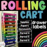Rolling Cart Drawer Labels - Black and Bright
