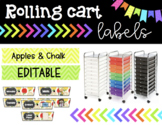 Rolling Cart Labels * EDITABLE * Apple Theme