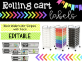 Rolling Cart Labels * EDITABLE * Black Watercolor Stripes with Cacti