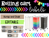 Rolling Cart Drawer Labels * EDITABLE * Burlap and Chalk