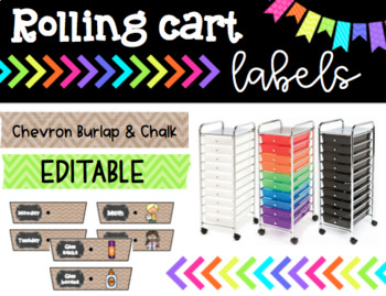 Rolling Cart Drawer Labels * EDITABLE * Chevron Burlap and Chalk