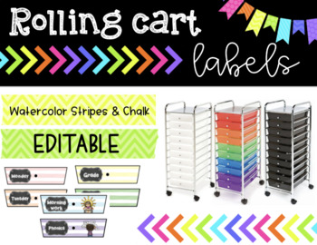 Rolling Cart Labels * EDITABLE * Colorful Watercolor Stripes