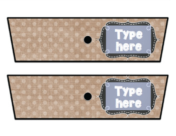 Rolling Cart Drawer Labels * EDITABLE * Dotted Burlap and Chalk