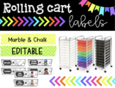Rolling Cart Labels * EDITABLE * Marble Theme