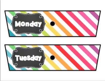 Rolling Cart Drawer Labels * EDITABLE * Multi Color Stripes and Chalk