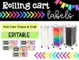 Rolling Cart Drawer Labels * EDITABLE * Multi Color Stripe