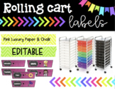 Rolling Cart Labels * EDITABLE * Pink Luxury Paper Theme