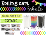 Rolling Cart Labels * EDITABLE * Rose Gold Marble Theme