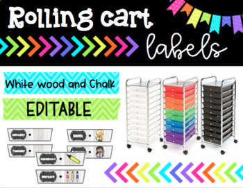 Rolling Cart Drawer Labels * EDITABLE * White Wood and Chalk