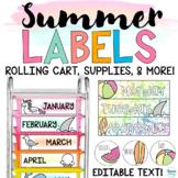 Rolling Cart Labels Teacher Toolbox Labels | Summer Classr