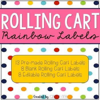 Rolling Cart Rainbow Labels