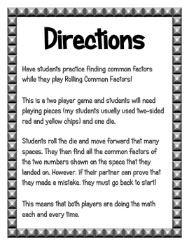 Rolling Common Factors Board Game
