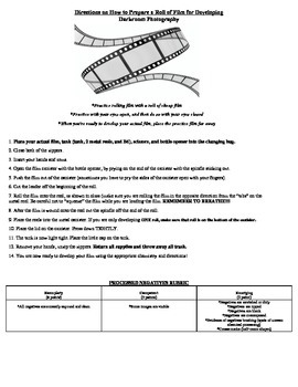 Rolling Film Directions and Developing Time Chart
