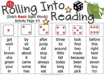 Rolling Into Reading!~ Using Dolch Sight Words