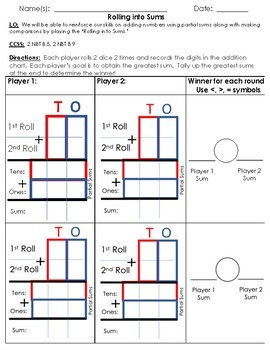 Rolling Into Sums (2nd Grade)