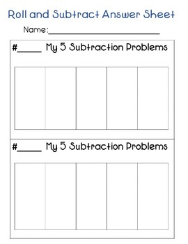 Rolling Math Center:  Subtraction