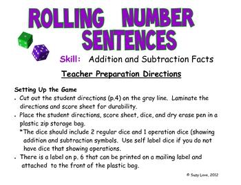 Rolling Number Sentences Math Game